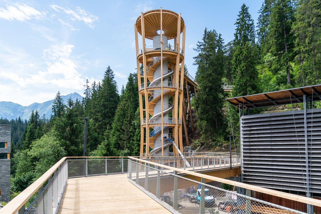 World's longest treetop walkway in Switzerland access tower