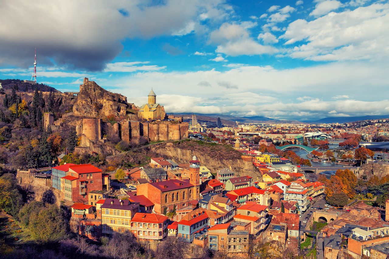 gay friendly places-eastern europe georgia Tbilisi at sunset
