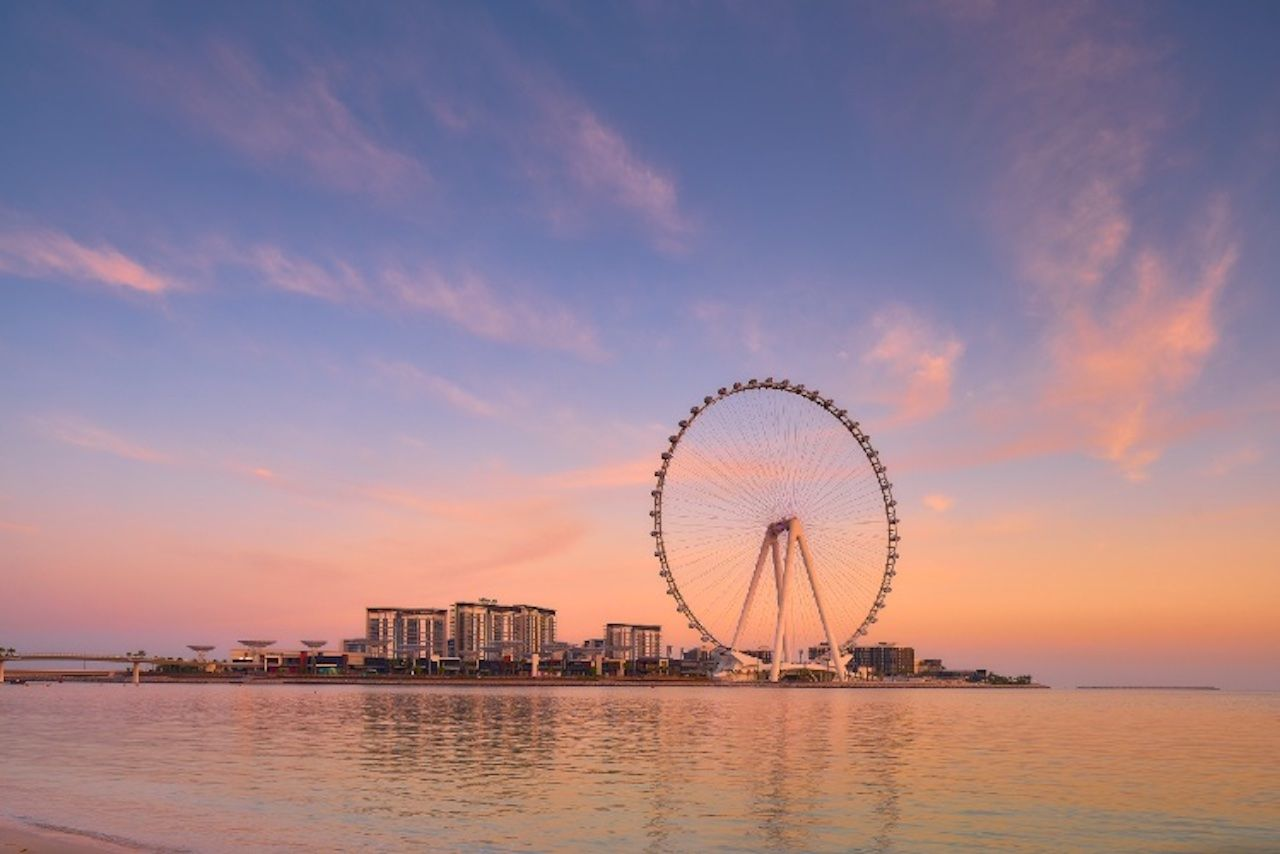World's largest and tallest observation wheel in Dubai at sunset