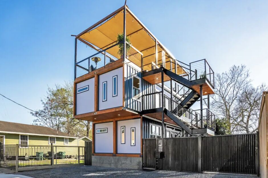 shipping container with rooftop patio houston airbnbs