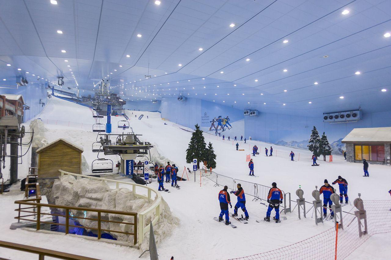 Ski instructors ready to teach at Ski Dubai, an indoor ski area.