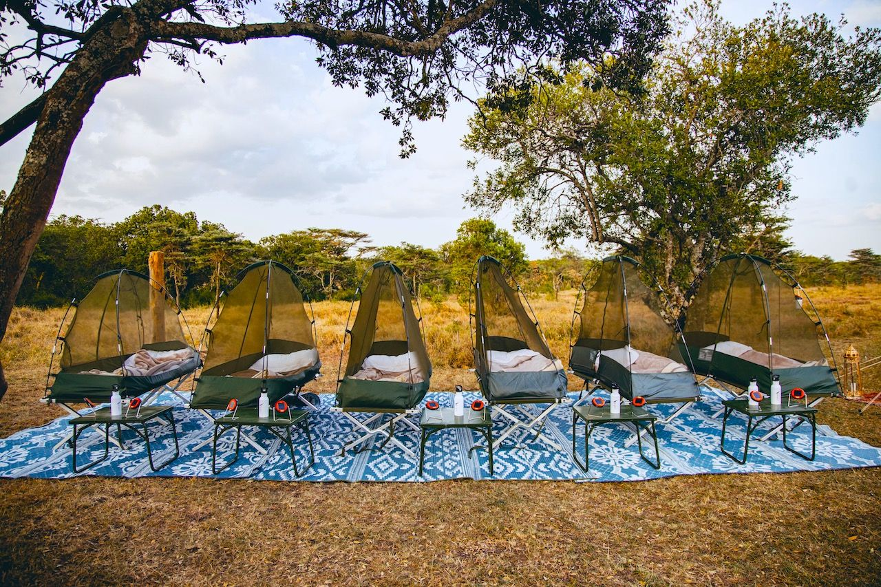 Bubble tents for sleeping outdoors in Kenya