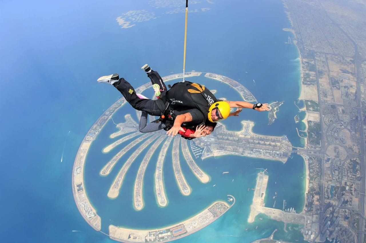 Skydiving over palm tree islands in Dubai