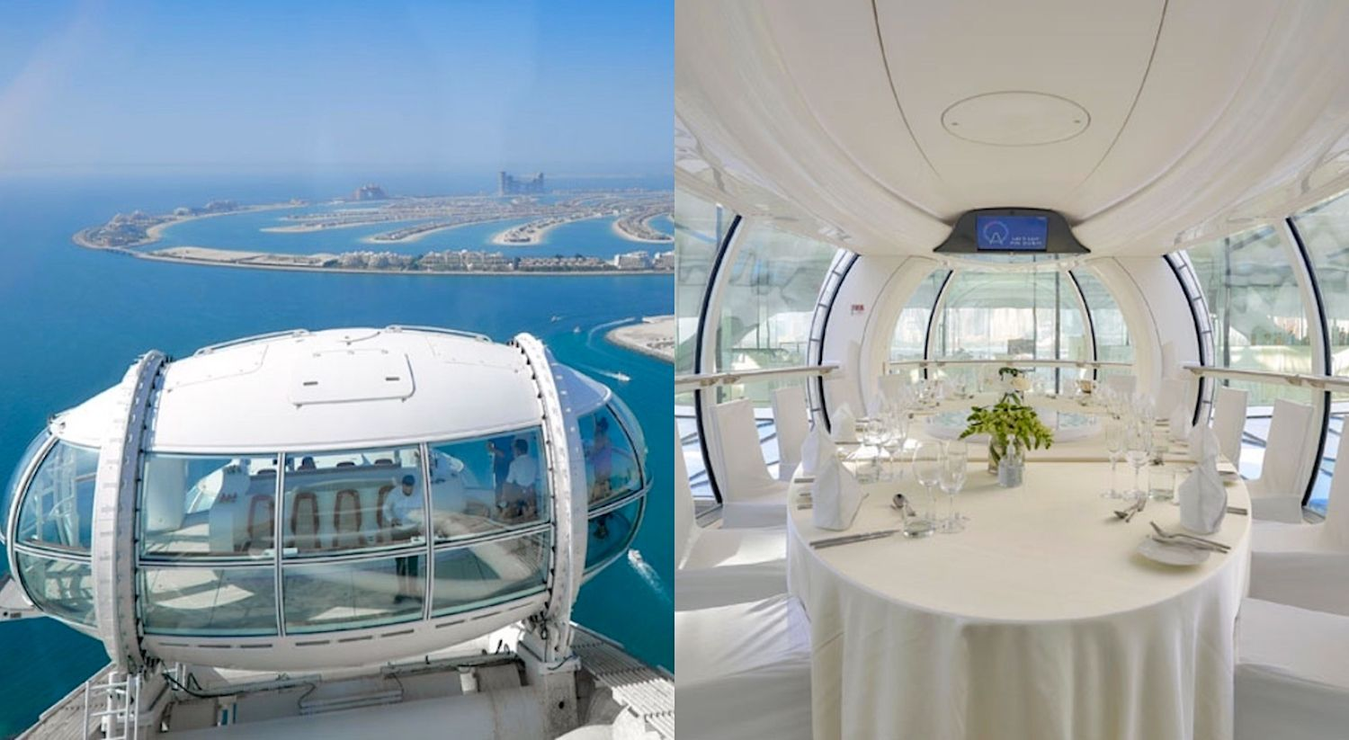 Interior of cabin of world's largest and tallest observation wheel in Dubai