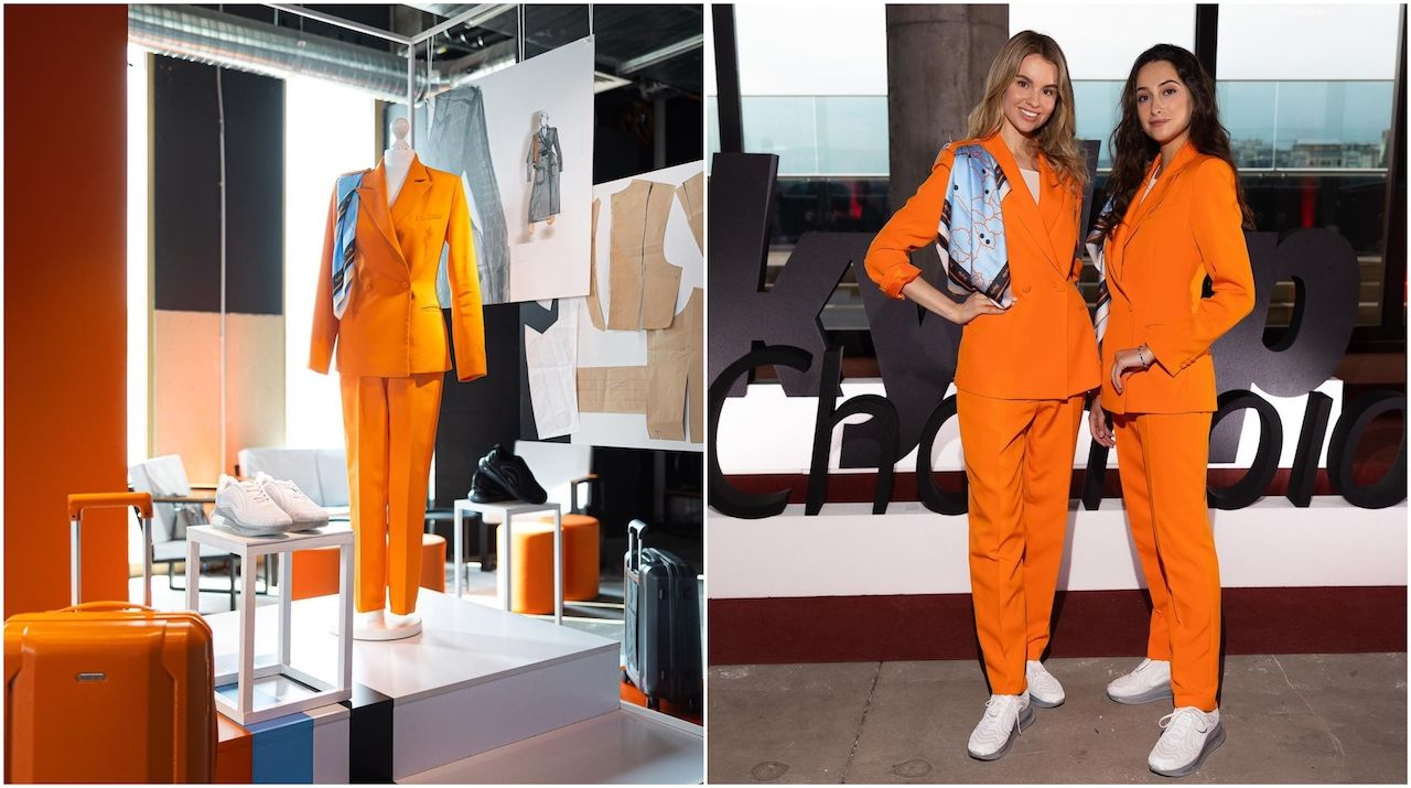 new SkyUp Airlines uniform with an orange pantsuit and comfy sneakers