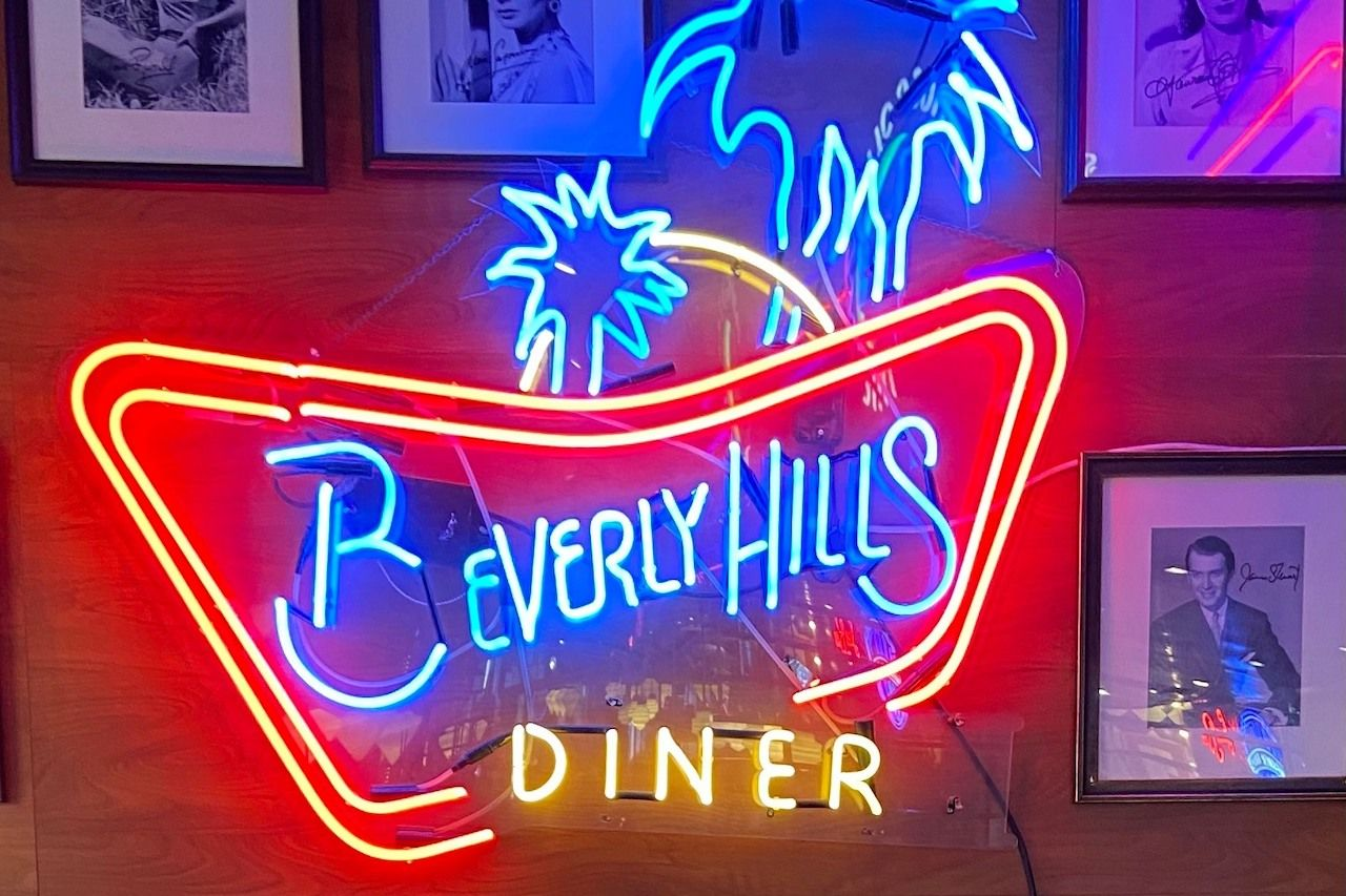 beverly hills diner sign in american themed restaurant in moscow russia
