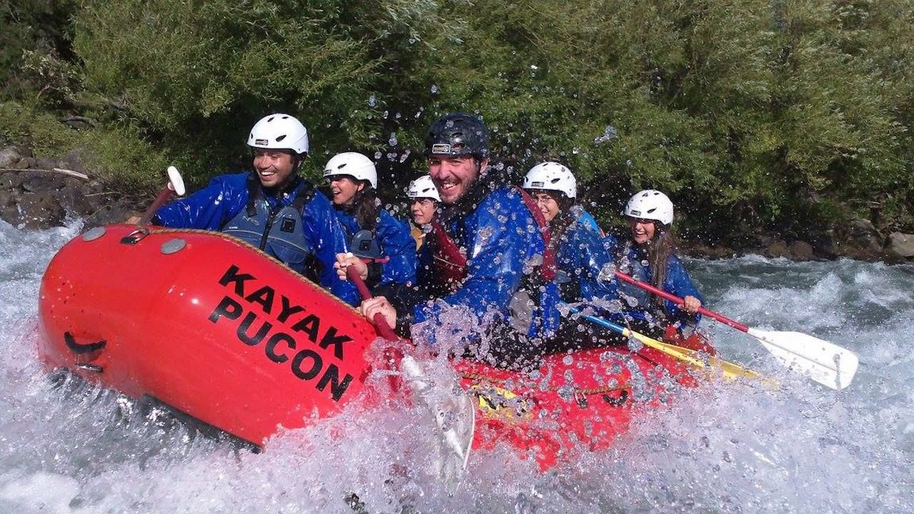 Exciting whitewater rafting on the Trancura rapids in Pucon, Chile