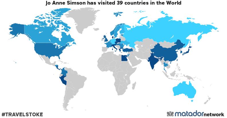Jo Anne Simson's Travel Map